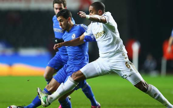 Swansea City vs Chelsea - Capital One Cup,  Ashley Williams &amp; Eden Hazard 