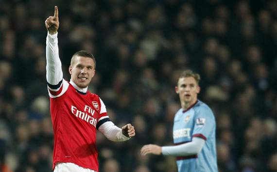 Arsenal striker Podolski eyeing top-four finish following West Ham romp