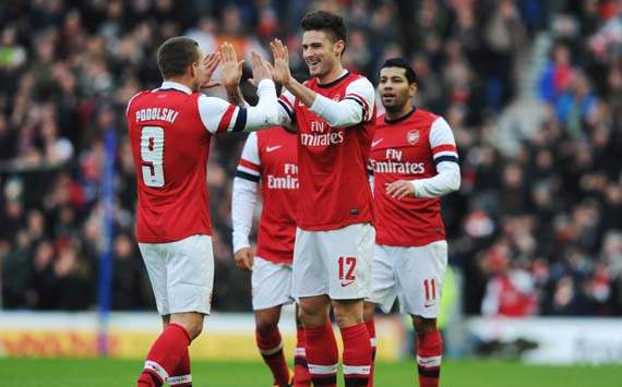 FA Cup, Brighton & Hove Albion v Arsenal, Olivier Giroud, Lukas Podolski