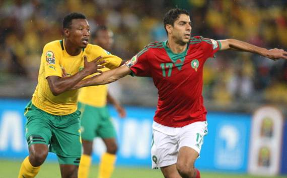 Siyabonga Sangweni of South Africa and Issam El Adoua of Morocco 
