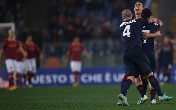 Cagliari celebrating vs Roma