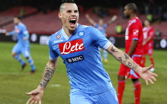 Marek Hamsik celebrates his goal in Napoli-Catania