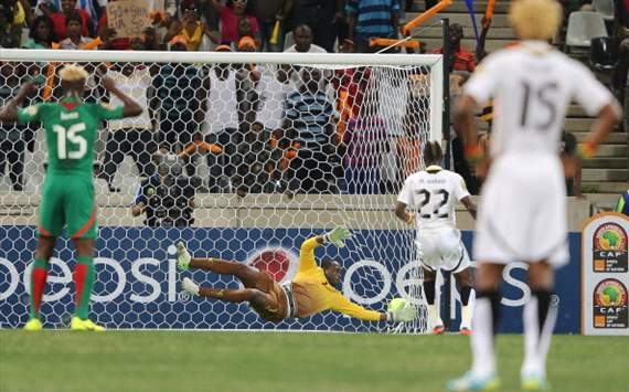 Mubarak Wakaso scores from the spot for Ghana against Burkina Faso - 2013 Afcon