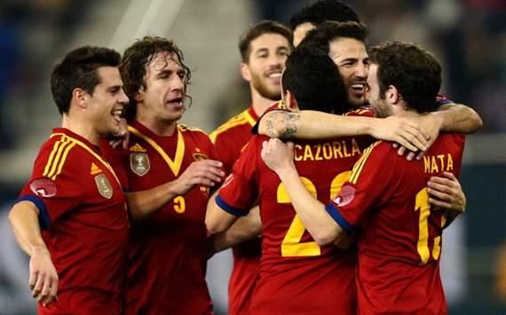 festejo España vs Uruguay