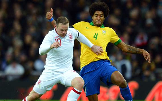 Dante, Wayne Rooney - Brazil vs England