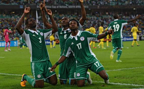 The Super Eagles celebrating one of their goals against Mali