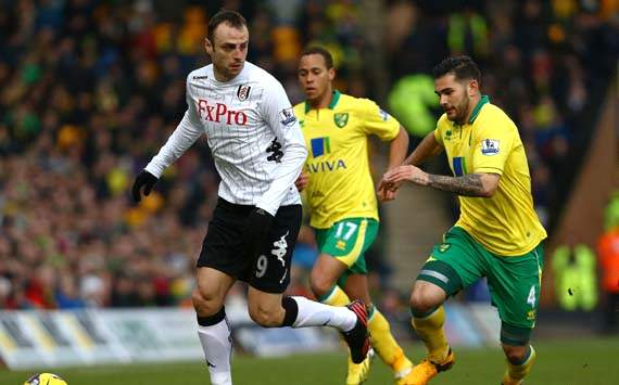 EPL, Norwich City v Fulham, Dimitar Berbatov, Bradley Johnson