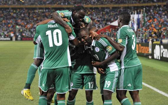 Nigeria celebrate goal against Burkina Faso