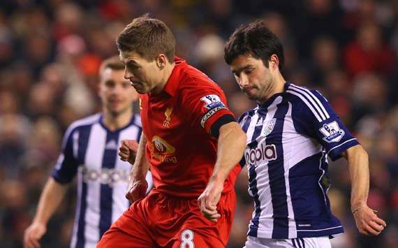 EPL, Liverpool v West Bromwich Albion,  Steven Gerrard, Claudio Yacob