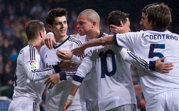 Real Madrid celebrates against Rayo Vallecano