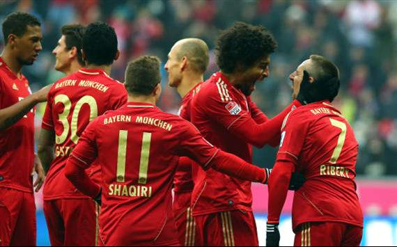 Bayern celebrate against Werder Bremen