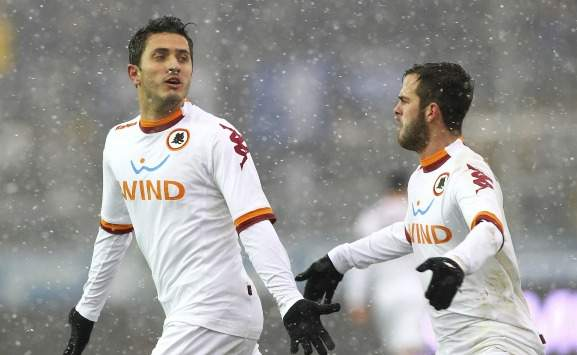 Pjanic e Marquinho in Atalanta-Roma (Serie A)