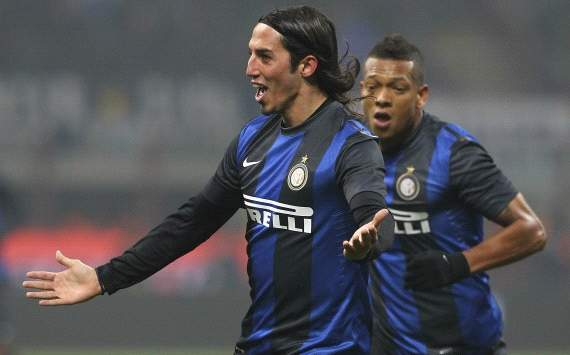 Ezequiel Schelotto and Fredy Guarin - Inter