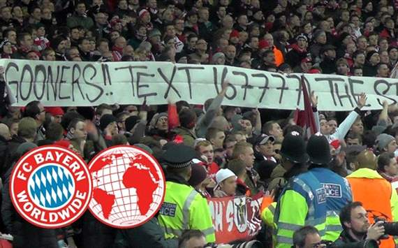 Extra Time: Bayern fan site explains mock Arsenal banner
