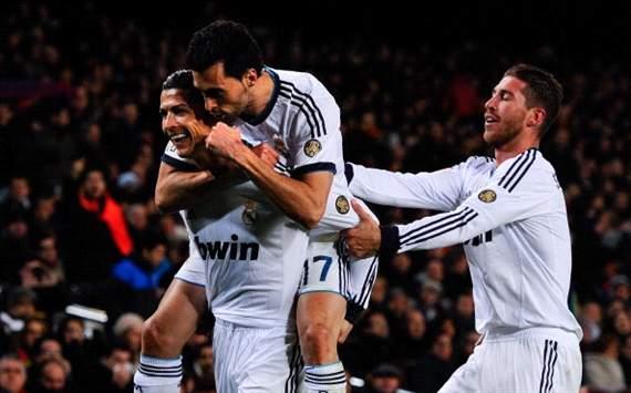 Cristiano Ronaldo, Alvaro Arbeloa, Sergio Ramos - Barcelona v Real Madrid - Clasico