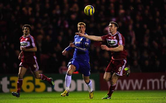 FA Cup, Middlesbrough v Chelsea, Fernando Torres, Stephen McManus