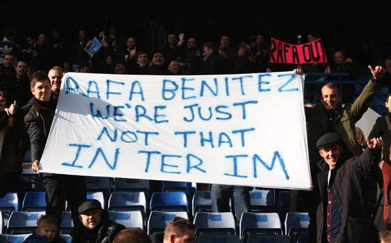 Chelsea v West Bromwich Albion, Chelsea fans display a banner as they protest against Rafael Benitez