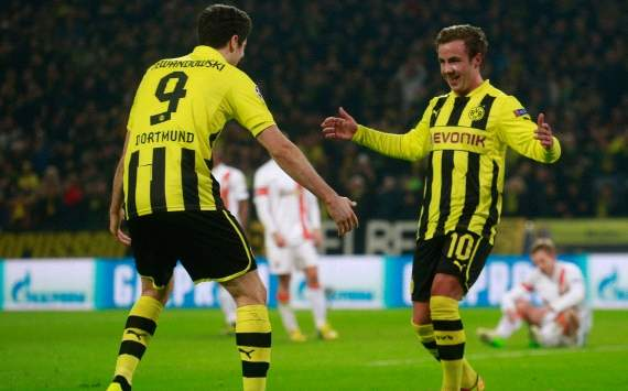 UEFA, Champions League, Borussia Dortmund vs. Shakhtar Donetsk, Mario Goetze; Robert Lewandowski