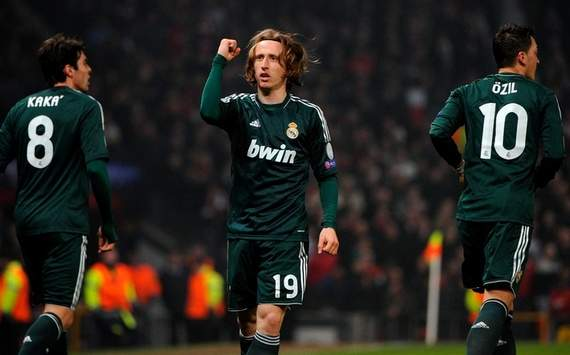 Luka Modric celebrating a goal, Manchester United v Real Madrid