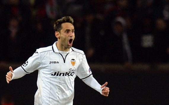 Paris SG v Valencia (Jonas celebrates after scoring) Champions League