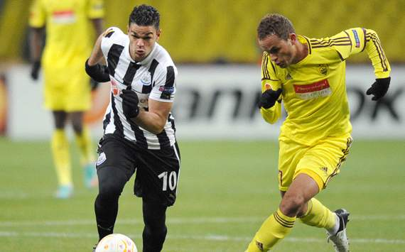 UEFA Europa League, Anji Makhachkala v Newcastle United, Hatem Ben Arfa (L), Ewerton