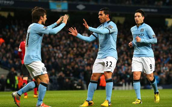 FA Cup - Manchester City v Barnsley, David Silva and Carlos Tevez