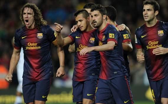 Barcelona celebra ante el Deportivo
