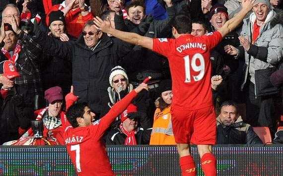 EPL - Liverpool vs Tottenham Hotspur, Luis Suarez and Stewart Downing