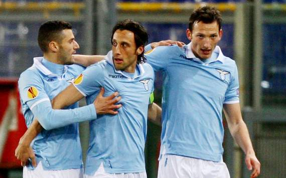 Europa League, Lazio-Stoccarda: Lazio players celebrating