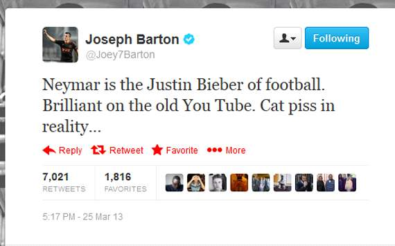 Joey Barton calls Neymar the Justin Bieber of Football after poor show v Russia