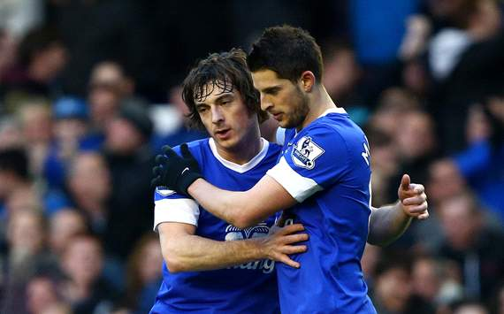 EPL - Everton v Stoke City, Kevin Mirallas, Leighton Baines