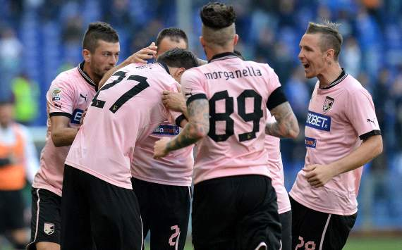 Palermo players celebrating - Sampdoria-Palermo