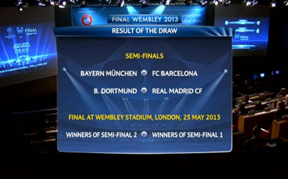 Bayern draw Barca, BVB face Madrid