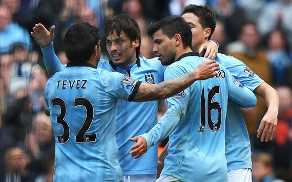 EPL - Manchester City vs West Ham United, Sergio Aguero, Carlos Tevez & David Silva