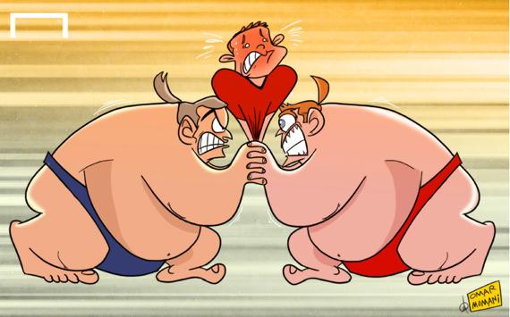 本日のひとコマ漫画:「プレミア重量級のせめぎ合いにルーニー動けず」