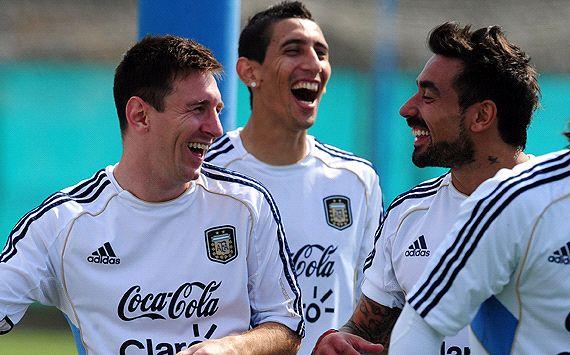 Leo Messi, Di María y Ezequiel Lavezzi - Entrenamiento Selección Argentina