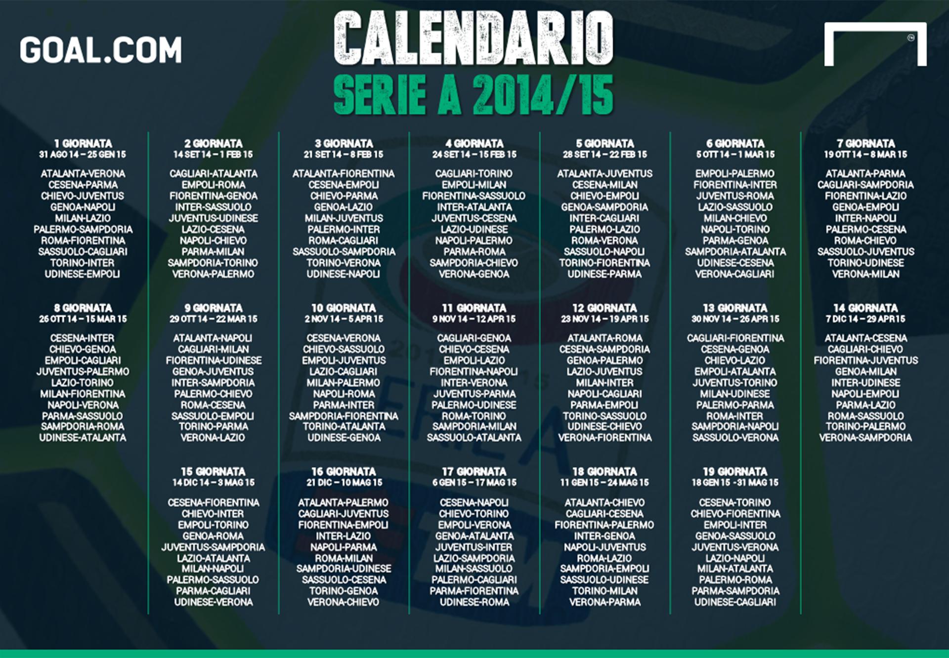 Calendario Serie A 17 18.Calendario Serie A 2014 2015