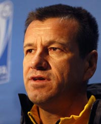 Brazil coach Carlos Dunga takes questions from he press after landing in South Africa for the Confederations Cup