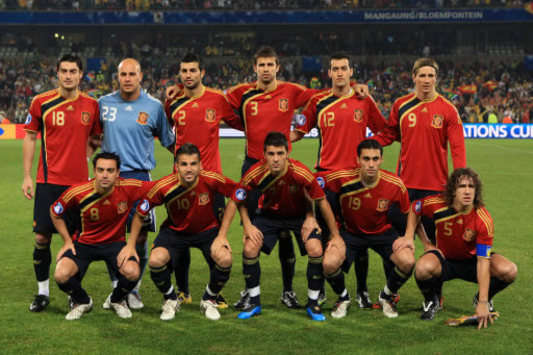 La selección de España, posando en la Copa Confederaciones de Sudáfrica 2009 (PA)