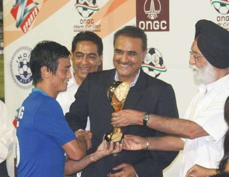 India Captain Bhaichung Bhutia Named Player Of The Nehru Cup