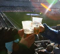Drinking Beer at the Stadium, Getty Images