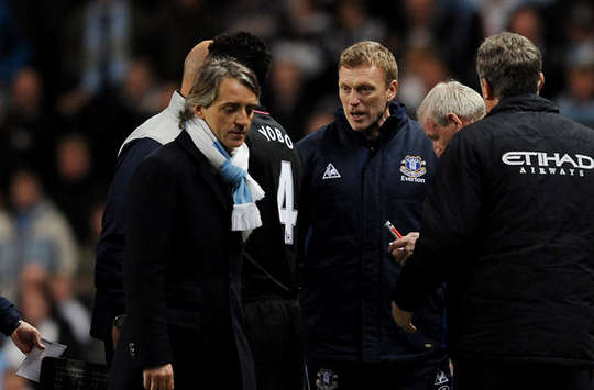 Mancini-Moyes bust up, Man City v Everton (Getty Images)