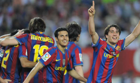 Young guns Pedro and Bojan celebrate Barcelona's win in Seville (Getty Images)